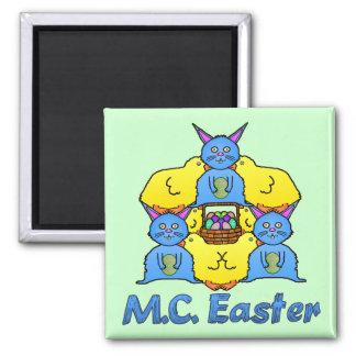 Funny MC Easter Bunnies Chicks Tessellation Refrigerator Magnet