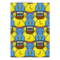 Funny MC Easter Bunny Chicks Tessellation Pattern Card