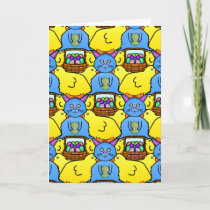 Funny MC Easter Bunny Chicks Tessellation Pattern Holiday Card