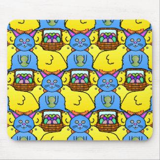 Funny MC Easter Bunny Chicks Tessellation Pattern Mousepad