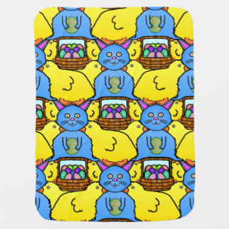 Funny MC Easter Bunny Chicks Tessellation Pattern Receiving Blanket
