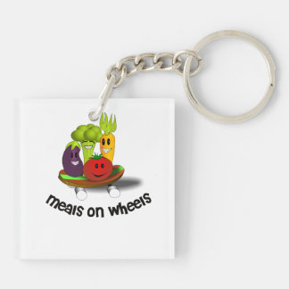 Funny Meals on Wheels Double-Sided Square Acrylic Keychain
