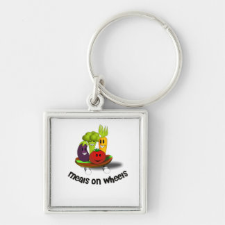 Funny Meals on Wheels Silver-Colored Square Keychain