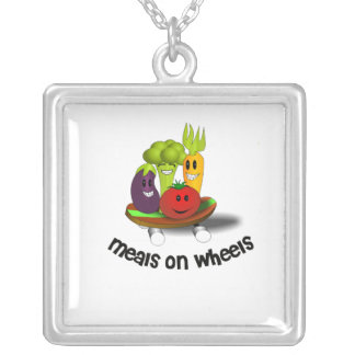 Funny Meals on Wheels Silver Plated Necklace