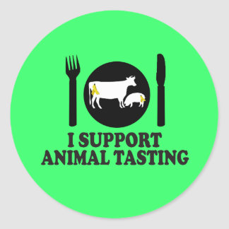Funny meat eating classic round sticker