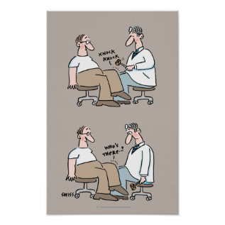 Funny Medical Office Poster Doctor Checks Reflexes at Zazzle