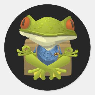 Funny Meditating Frog Cartoon Classic Round Sticker