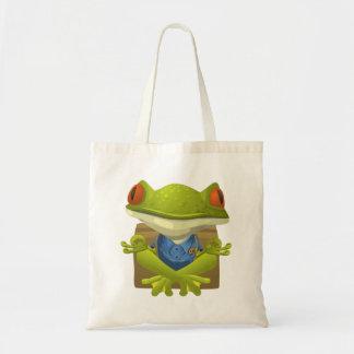 Funny Meditating Frog Cartoon Tote Bag