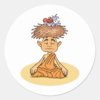 Funny Meditation Classic Round Sticker