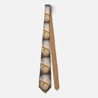 Funny Meerkat Sitting with Back to Wall, Grunge Neck Tie