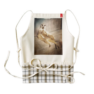 Funny Meerkat Sitting with Back to Wall, Grunge Zazzle HEART Apron