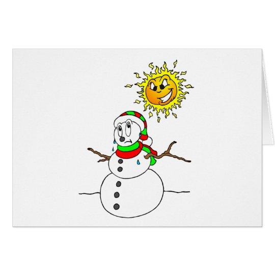 Funny Melting Snowman Blank Xmas Holiday Christmas Card