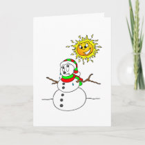 Funny Melting Snowman Christmas Joke Holidays Xmas Holiday Card