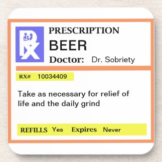 Funny Men's Prescription Beer Drink Coasters Set