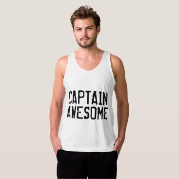 Beach Themed Funny men's T-shirts, CAPTAIN AWESOME Tank Top