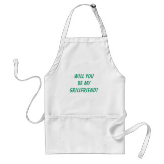 """Funny Men's """"WILL YOU BE MY GRILLFRIEND?"""" BBQ Adult Apron"""