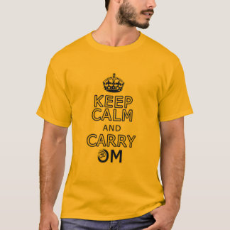 Funny men's yoga shirt Keep Calm Carry Om