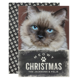 Funny Meowy Christmas Your Cat Photo Card