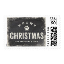 Funny Meowy Merry Christmas Cat Paw Custom Postage