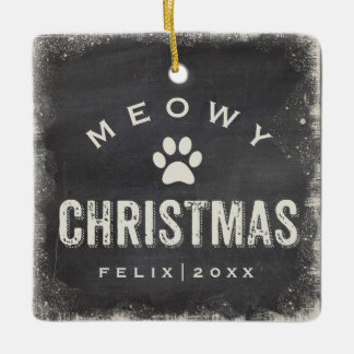 Funny Meowy Merry Christmas Cat Photo Name Custom Ceramic Ornament