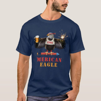Funny Merican Eagle 4th of July Beer and Fireworks T-Shirt
