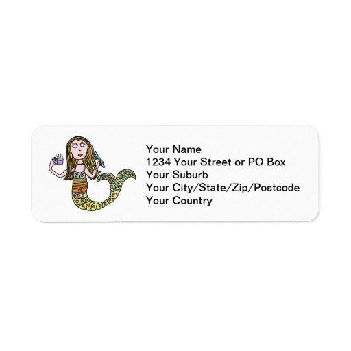 Funny Mermaid Address Labels