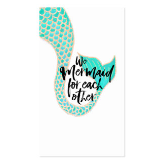 Funny mermaid typography quote watercolor tail business card