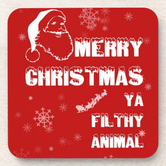 Funny Merry Christmas Beverage Coaster