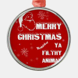 Funny Merry Christmas Metal Ornament
