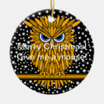 funny Merry Christmas owl Double-Sided Ceramic Round Christmas Ornament