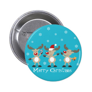 Funny Merry Christmas Reindeers Button