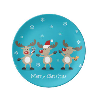 Funny Merry Christmas Reindeers Porcelain Plate