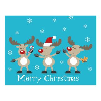 Funny Merry Christmas Reindeers Postcard
