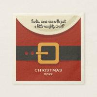 Funny Merry Christmas Santa Claus Naughty & Nice Paper Napkin