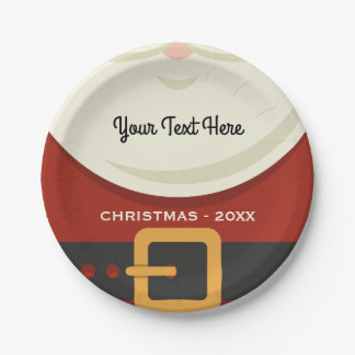Funny Merry Christmas Santa Claus Suit Holiday Paper Plate
