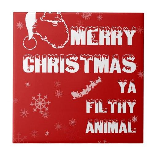 Funny Merry Christmas Tile