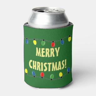 Christmas Koozies.Funny Merry Christmas Tree Light Bulbs Can Cooler