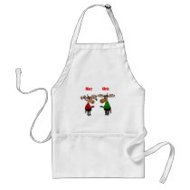 Funny Merry Christmoose Cartoon Adult Apron