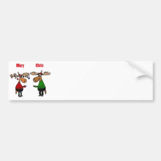 Funny Merry Christmoose Cartoon Bumper Sticker