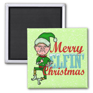 Funny Merry Elfin Christmas Bah Humbug 2 Inch Square Magnet