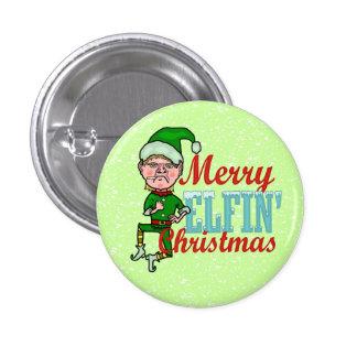 Funny Merry Elfin Christmas Bah Humbug Button