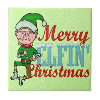 Funny Merry Elfin Christmas Bah Humbug Ceramic Tile