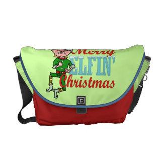 Funny Merry Elfin Christmas Bah Humbug Courier Bag