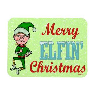 Funny Merry Elfin Christmas Bah Humbug Rectangular Photo Magnet