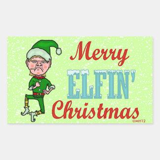 Funny Merry Elfin Christmas Bah Humbug Rectangular Sticker
