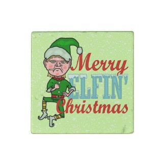 Funny Merry Elfin Christmas Bah Humbug Stone Magnet