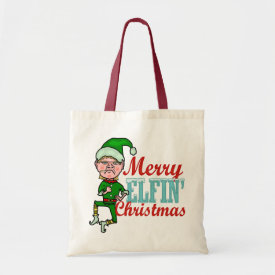 Funny Merry Elfin Christmas Bah Humbug Tote Bags