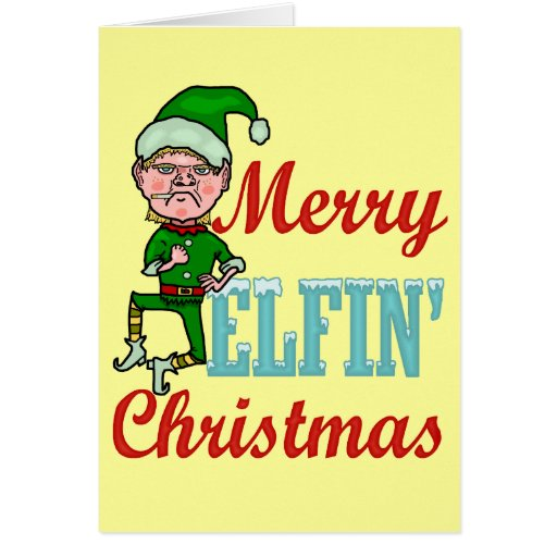 Funny Merry Elfin Christmas Cards