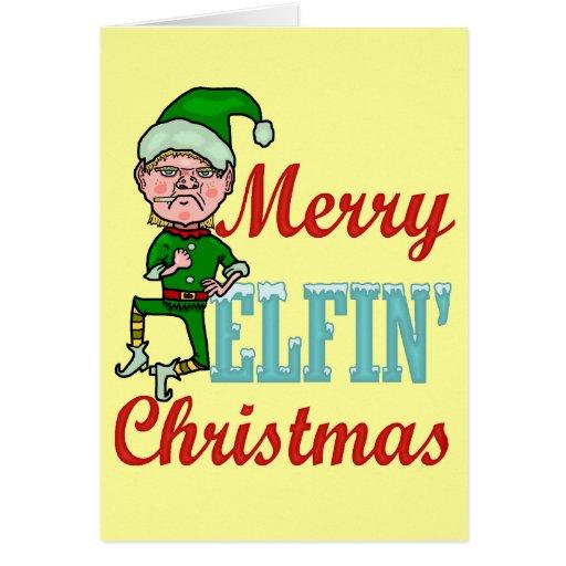 Funny Merry Elfin Christmas Cards | Zazzle: zazzle.com/funny_merry_elfin_christmas_cards-137878846315372736