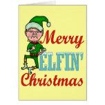 Funny Merry Elfin Christmas Greeting Card